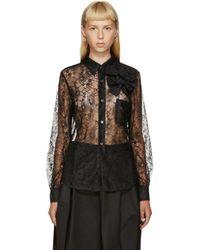 Comme des Garçons - Black Sheer Floral Lace Shirt - Lyst