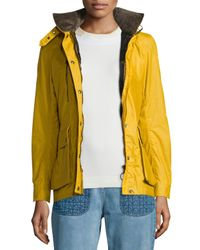Belstaff - Yellow Waxed Long-sleeve Hooded Jacket - Lyst