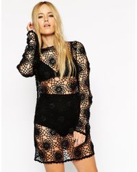 ASOS - Black Crochet Tunic Dress With Long Sleeves - Lyst