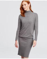 Ann Taylor | Gray Mock Neck Sweater Dress | Lyst
