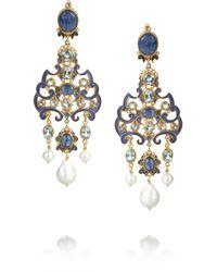 Percossi Papi - Blue Goldplated Multistone Earrings - Lyst