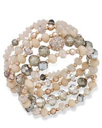 INC International Concepts | Pink Rose Gold-tone Crystal And Stone Stretch Bracelet Set | Lyst