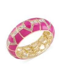 Carolee | Goldtone Pink Enamel and Glass Stone Stretch Bangle Bracelet | Lyst
