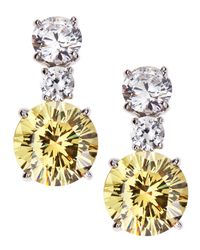 Fantasia by Deserio | Metallic Round Two-tone Cz Drop Earrings | Lyst