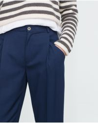 Zara | Blue Loose Fit Trousers | Lyst
