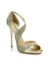 Jimmy Choo - Metallic Tyne Asymmetrical Leather & Lurex Sandals - Lyst