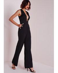 Missguided - Button Detail Plunge Jumpsuit Black - Lyst