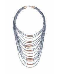 TOPSHOP - Gray Multirow Thread Necklace - Lyst