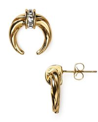 Rachel Zoe | Metallic Safari Mini Crescent Stud Earrings | Lyst