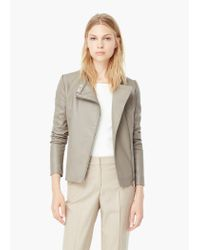 Mango | Brown Zipped Biker Jacket | Lyst