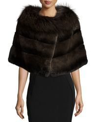Gorski | Brown Rabbit Fur Shawl W/fox Fur Trim | Lyst