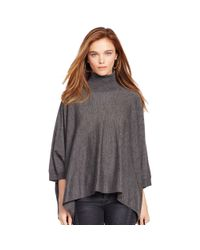 Polo Ralph Lauren - Gray Merino Wool Turtleneck Poncho - Lyst