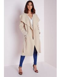 Missguided - Natural Wool Belted Waterfall Coat Light Camel - Lyst