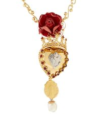Dolce & Gabbana | Metallic Sacred Heart And Crown Pendant Necklace | Lyst