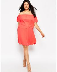 Asos Curve | Pink Gypsy Off Shoulder Dress | Lyst