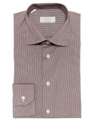 Eton of Sweden - Brown Contemporary Fit Micro Houndstooth Shirt for Men - Lyst