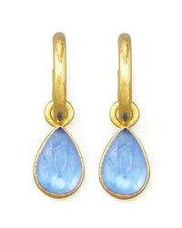 Elizabeth Locke | Blue Cerulean Intaglio Teardrop Earring Pendants | Lyst