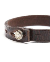 DIESEL | Amisto Engraved Aged Brown Leather Bracelet for Men | Lyst