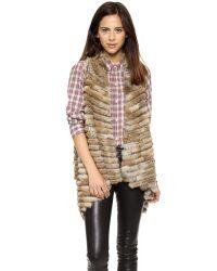 Jocelyn - Natural Fur Vest - Black - Lyst