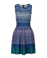 Issa | Purple Intarsia Knit Fit and Flare Dress | Lyst