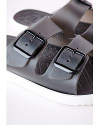 Missguided - Flexi Double Strap Buckled Sandals Black - Lyst