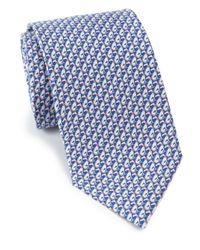 Ferragamo - Blue Greyhound Print Silk Tie for Men - Lyst