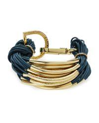 Saachi - Blue Teal & Gold-Tone String Bracelet - Lyst