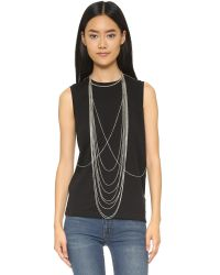 Chan Luu - Black Draping Body Chain - Silver - Lyst