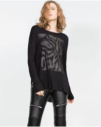 Zara | Black Golden Front Top | Lyst