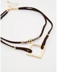 ASOS | Metallic Open Shapes Choker Necklace | Lyst