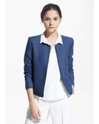 Mango - Blue Trimmed Jacket - Lyst