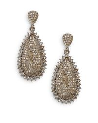 Bavna | Metallic 4.73 Tcw Champagne Diamond & Sterling Silver Teardrop Earrings | Lyst