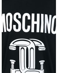 Moschino - Black Interlocking C-clamp Print T-shirt - Lyst