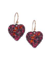 Alexis Bittar | Red Encrusted Black Cherry Heart Earrings | Lyst