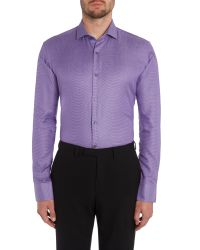 Ted Baker - Purple Pattern Slim Fit Long Sleeve Classic Collar Shirt for Men - Lyst