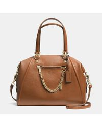 COACH - Brown Prairie Satchel With Chain In Pebble Leather - Lyst