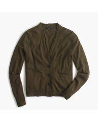 J.Crew - Green V-neck Cardigan Sweater In Fringe Trim - Lyst