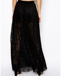 ASOS - Black Wide Leg Trousers in Pleated Lace - Lyst