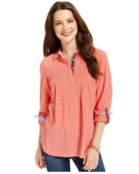 Tommy Hilfiger - Pink Pintucked Popover Top - Lyst