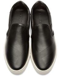 Burberry - Gauden Black Slip-on Copford Sneakers for Men - Lyst