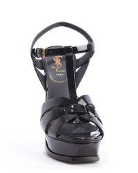 Saint Laurent - Black Patent Leather Tribute 105 T-strap Heel Sandals - Lyst