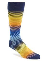 Bugatchi - Blue Stripe Cotton Blend Socks for Men - Lyst