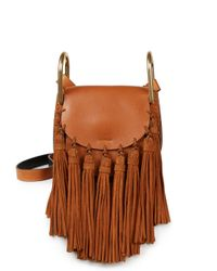 Chloé | Brown Hudson Small Leather & Suede Tassel Shoulder Bag | Lyst