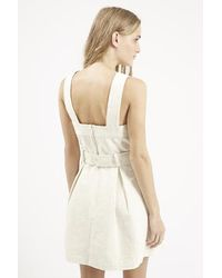 TOPSHOP - Natural Textured Belted Pinafore Dress - Lyst