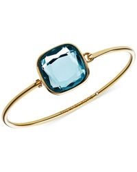 Michael Kors | Gold-Tone Blue Crystal Bangle Bracelet | Lyst