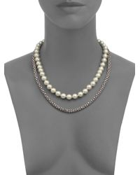 Kenneth Jay Lane | Metallic Pavé Rope & Faux Pearl Two-strand Necklace | Lyst
