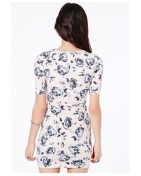 Missguided - Pink Odilia Origami Wrap Dress In Floral Print - Lyst