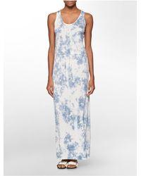 Calvin Klein - Blue Jeans Tie Dye Sleeveless Maxi Dress - Lyst
