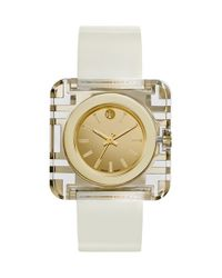 Tory Burch | White 'izzie' Square Leather Strap Watch | Lyst