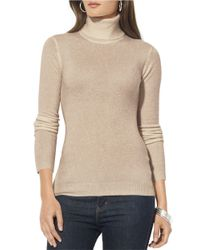 Lauren by Ralph Lauren | Natural Silk-cotton Turtleneck Sweater | Lyst